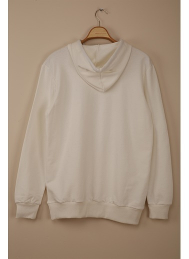 Z Giyim Kapşonlu Pamuklu Basic Sweatshirt Beyaz